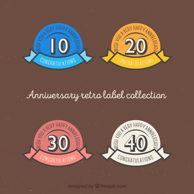 Verjaardag retro-label collectie Gratis Vector