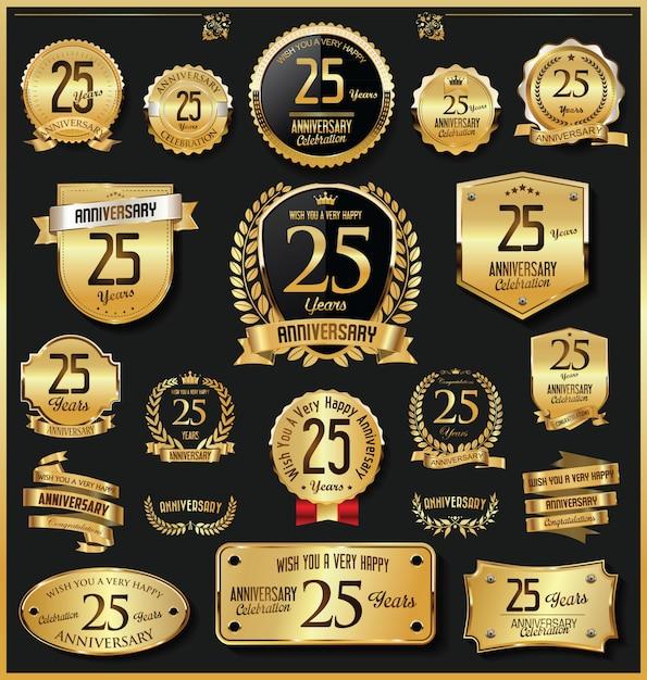 Verjaardag retro vintage gouden badges en etiketten vector Premium Vector