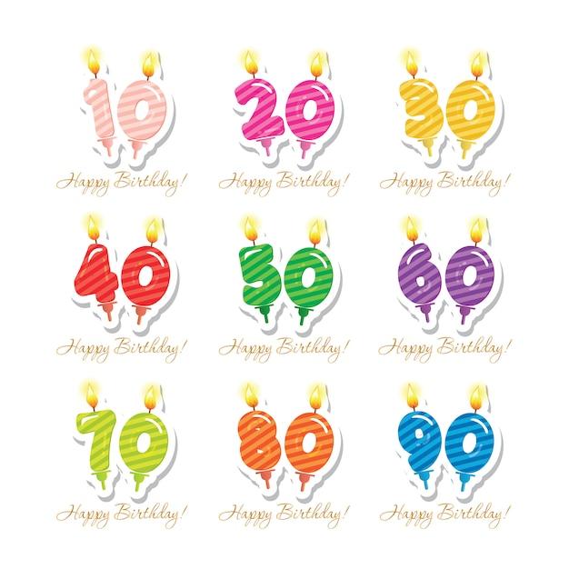Verjaardag set kaarsen kleurrijke nummers van 10 tot 90. Premium Vector