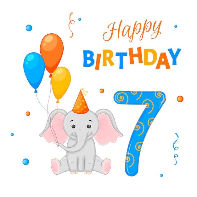 Verjaardag set met olifant, de inscriptie Premium Vector