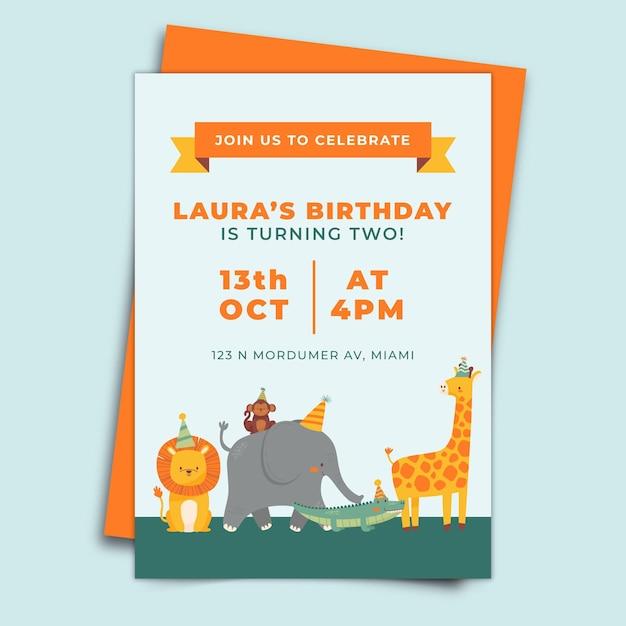 Verjaardag uitnodiging concept Gratis Vector