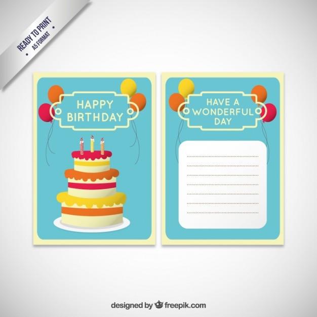 Verrassend Verjaardag uitnodiging kaart sjabloon met taart | Gratis Vector BH-03