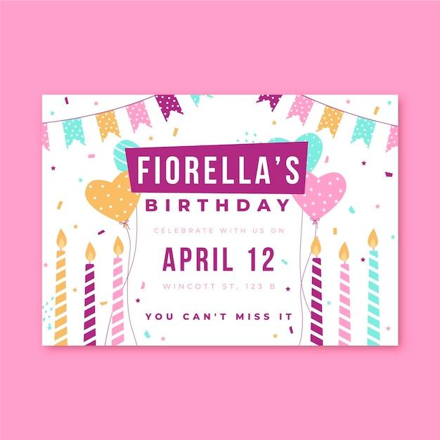 Verjaardag uitnodiging partij kaarsen en confetti Gratis Vector