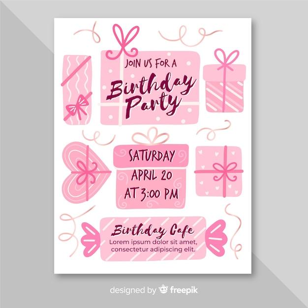 Verjaardag uitnodiging sjabloon in hand getrokken stijl Gratis Vector