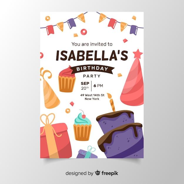 Verjaardag uitnodiging sjabloon in plat ontwerp Gratis Vector