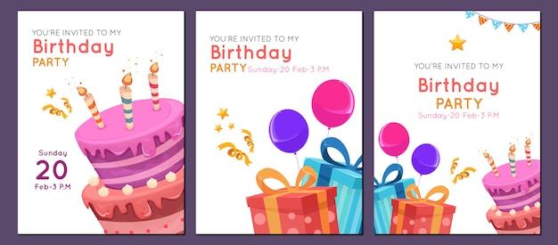 Verjaardag uitnodiging sjabloon in vlakke stijl voor kind Premium Vector