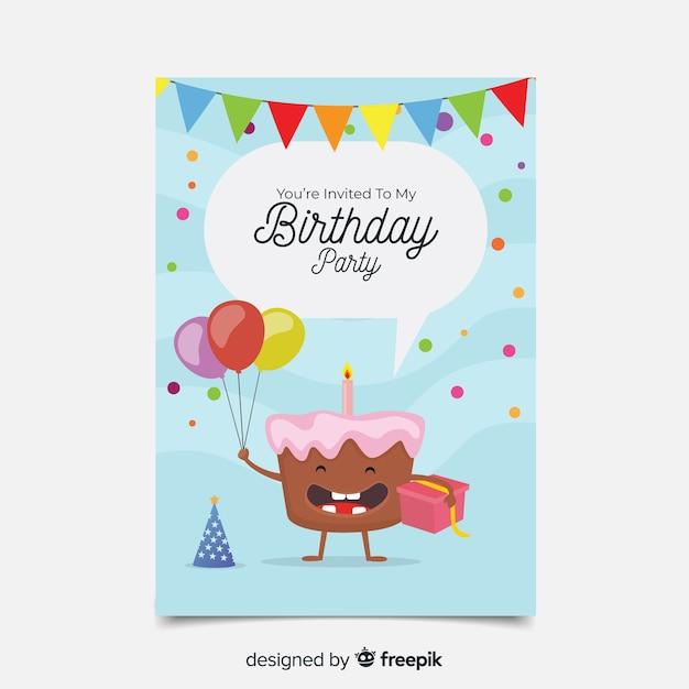 Verjaardag uitnodiging sjabloon in vlakke stijl Gratis Vector
