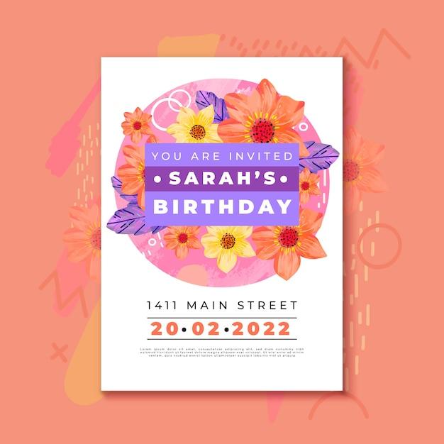 Verjaardag uitnodiging sjabloon met kleurrijke bloemen Gratis Vector