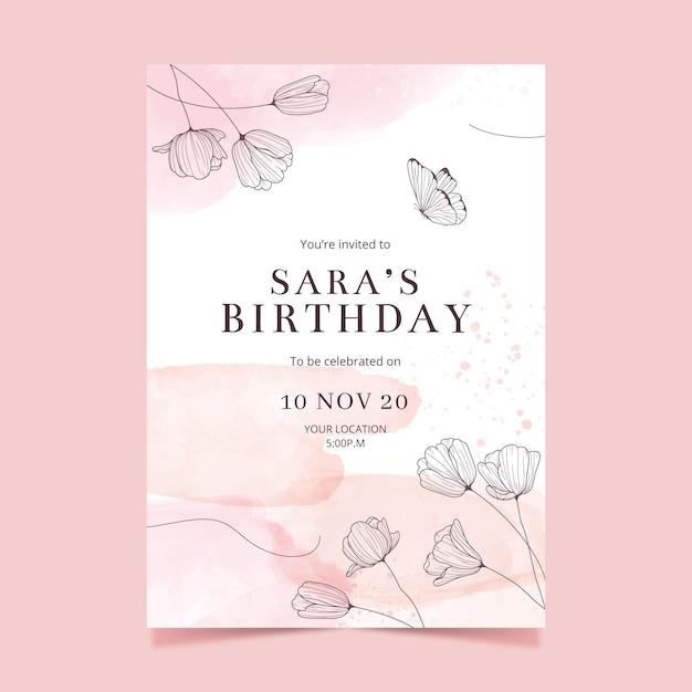 Verjaardag uitnodiging sjabloon stijl Gratis Vector