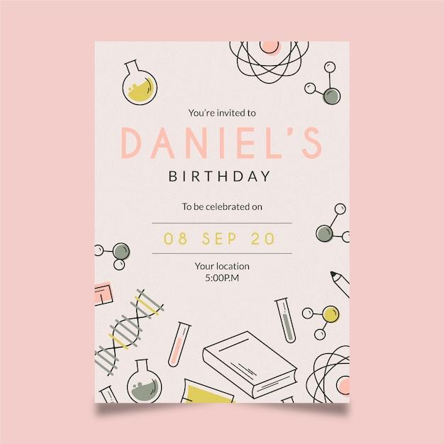 Verjaardag uitnodiging sjabloon Gratis Vector