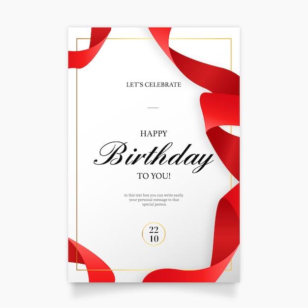 Verjaardag uitnodigingskaart met rood lint Gratis Vector