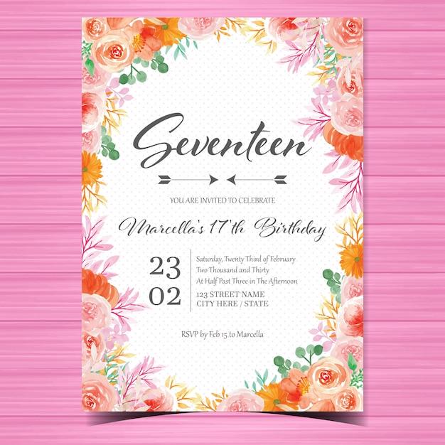 Verjaardag uitnodigingskaartsjabloon met prachtige aquarel bloemen Premium Vector