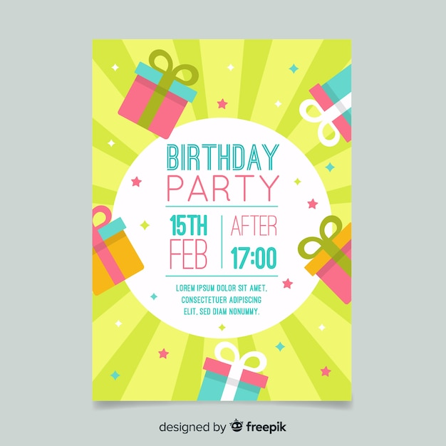 Verjaardag verjaardag uitnodigingssjabloon Gratis Vector