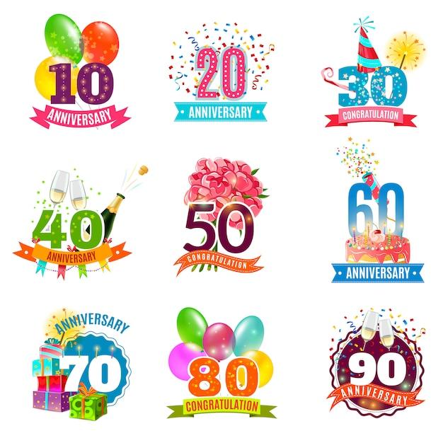 Verjaardag verjaardagen emblemen pictogrammen instellen Gratis Vector