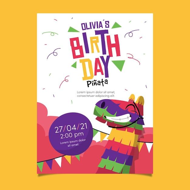 Verjaardag verjaardagsuitnodiging sjabloon met pinata Gratis Vector