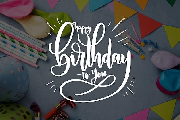 Verjaardag viering stijl voor belettering Gratis Vector