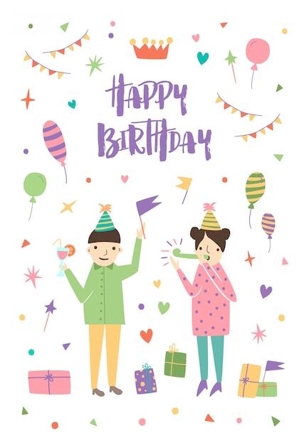 Verjaardag wenskaart met jongen en meisje kegel hoeden dragen en omgeven door confetti, ballonnen, feestelijke geschenken, vlag slingers. Premium Vector