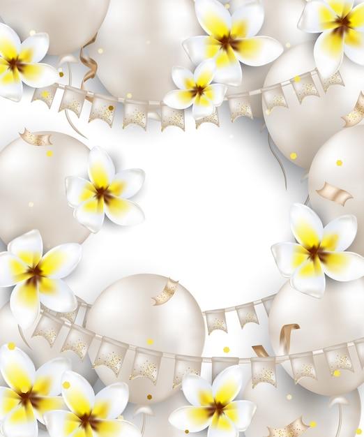 Verjaardag wenskaarten met witte ballonnen, plumeria bloemen, vlag slinger, confetti, lichten. achtergrond voor vakantie, bruiloft uitnodigingen, feest, verkoop, promoties. . Premium Vector