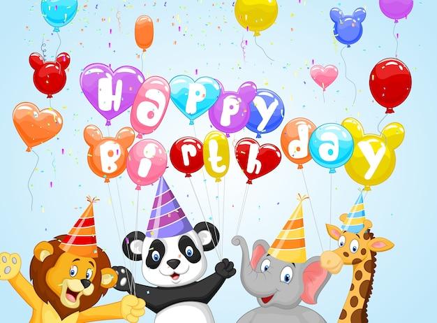 Verjaardagsachtergrond met gelukkige dieren Premium Vector
