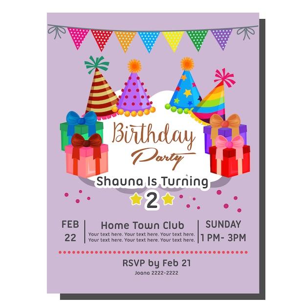 Verjaardagsbadge met feestmuts en ballon Premium Vector