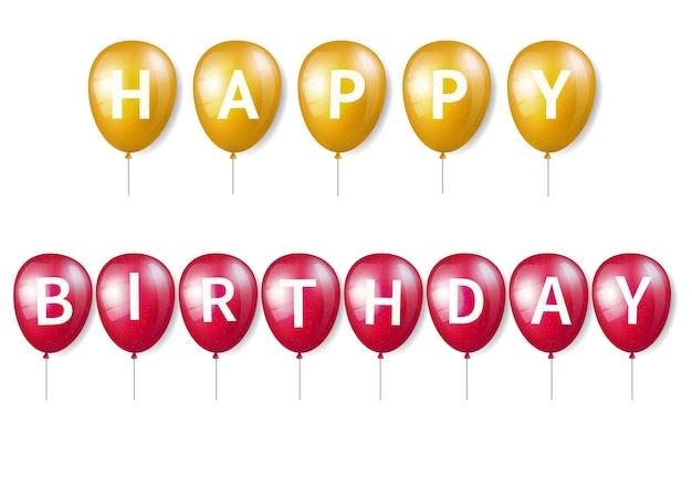 Verjaardagsballon met letters Premium Vector