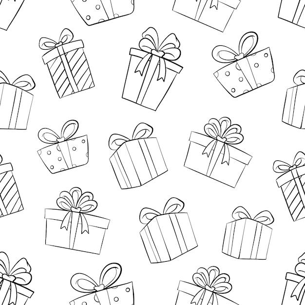 Verjaardagscadeau box in naadloos patroon met doodle of hand getrokken stijl Premium Vector