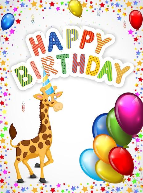 Verjaardagscartoon met gelukkige giraf Premium Vector