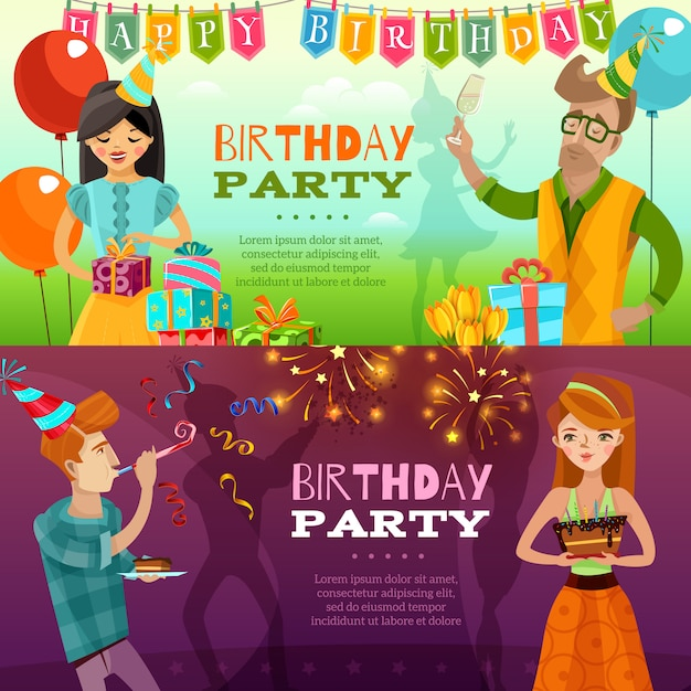 Verjaardagsfeest 2 feestelijke horizontale banners Gratis Vector