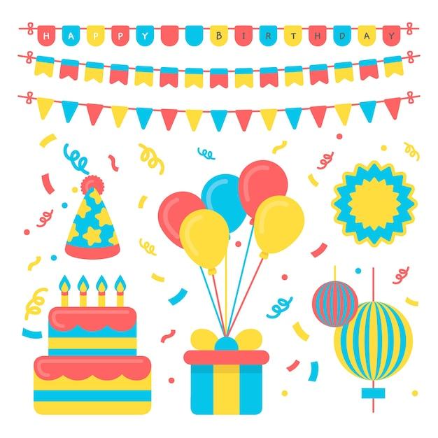 Verjaardagsfeest feestelijk decoratie concept Gratis Vector