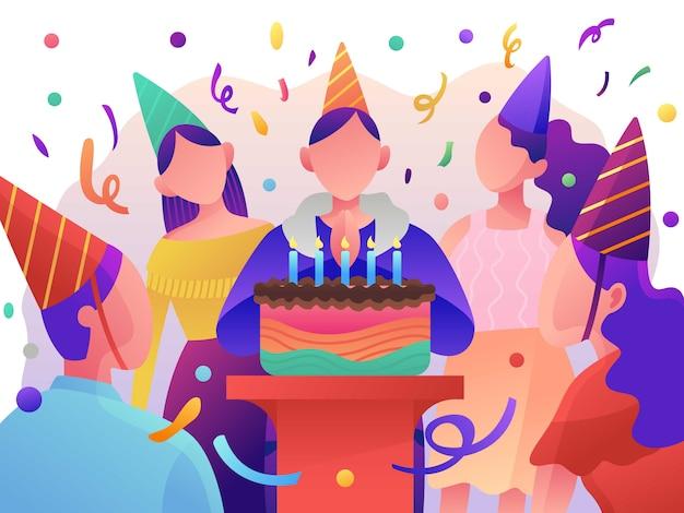 Verjaardagsfeest, geschenkdozen. platte vectorillustratie Premium Vector