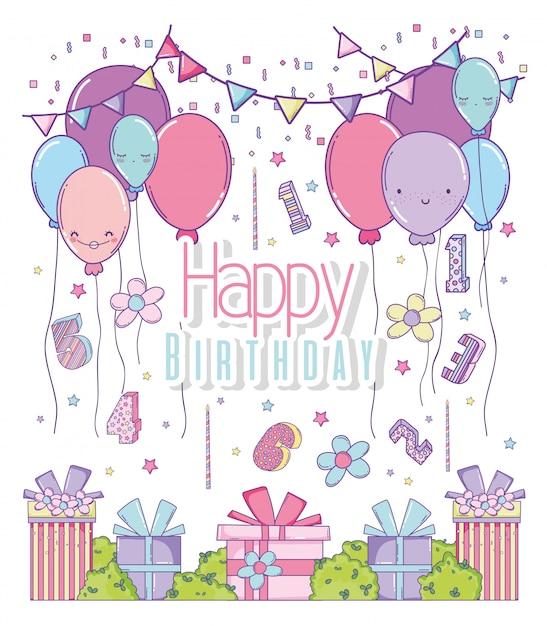 Verjaardagsfeest met ballonnen en cadeautjes Premium Vector
