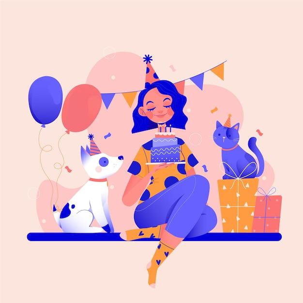 Verjaardagsfeestje doorbrengen met je huisdieren Gratis Vector