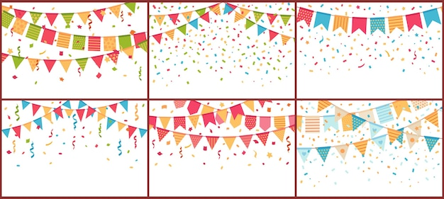 Verjaardagsfeestje gors en confetti. gekleurde papieren slingers, confetti explosie en vlaggetjes Gratis Vector