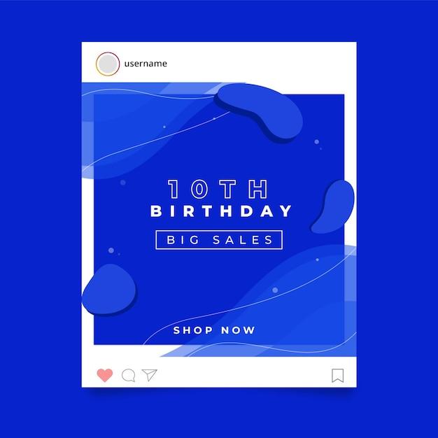 Verjaardagsfeestje instagram postsjabloon Gratis Vector