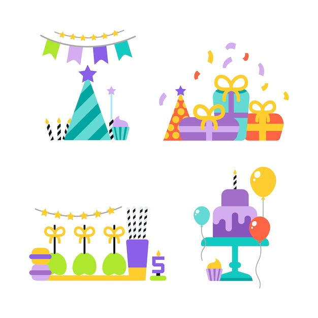 Verjaardagsfeestje set pictogrammen of elementen Gratis Vector