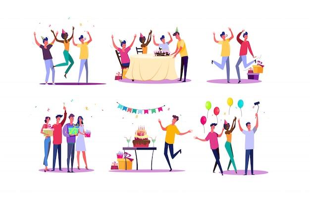Verjaardagsfeestje set Gratis Vector