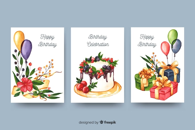 Verjaardagskaart collectie in aquarel stijl Gratis Vector