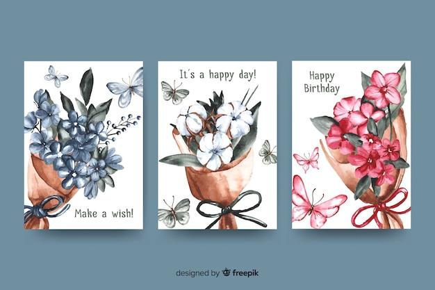 Verjaardagskaart collectie in aquarel stijl Premium Vector