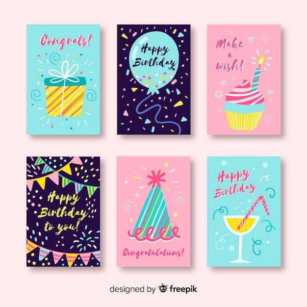 Verjaardagskaart collectie in hand getrokken stijl Gratis Vector