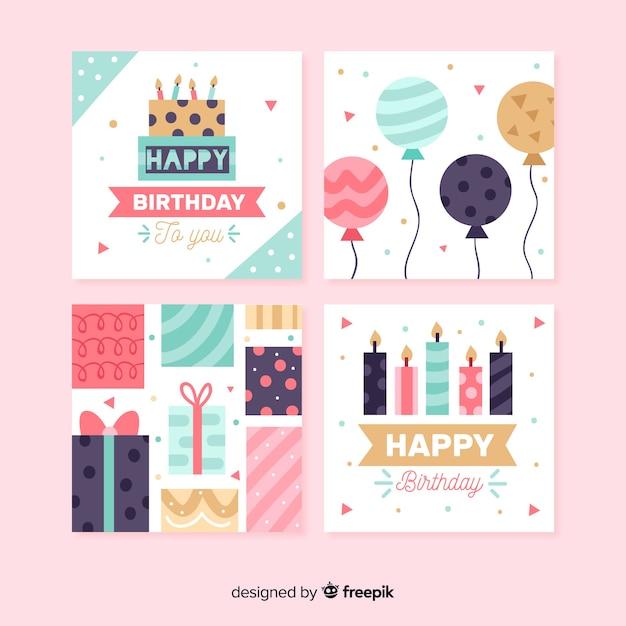 Verjaardagskaart collectie in vlakke stijl Gratis Vector