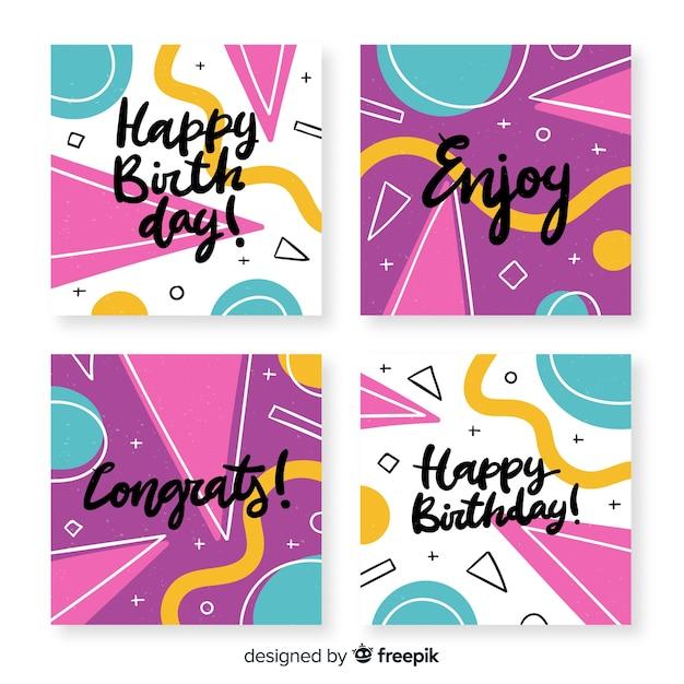 Verjaardagskaart collectie met abstracte vormen Gratis Vector
