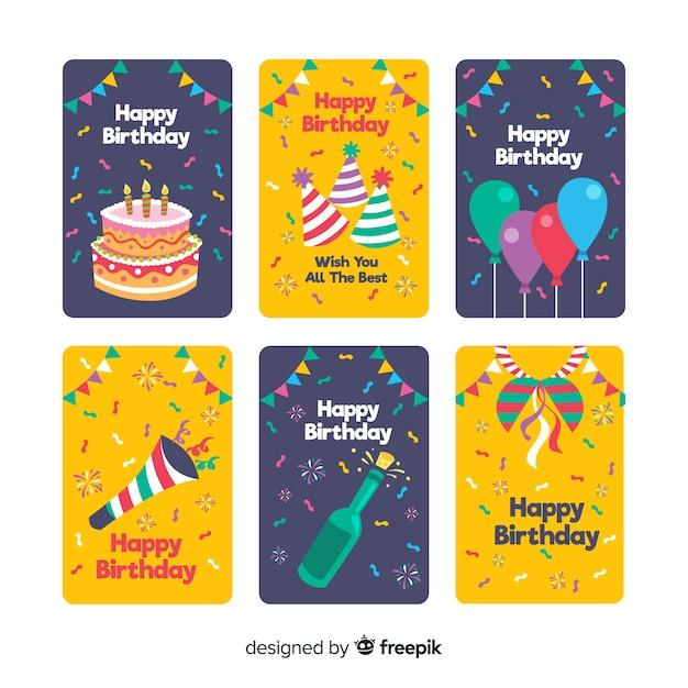 Verjaardagskaart collectie Gratis Vector
