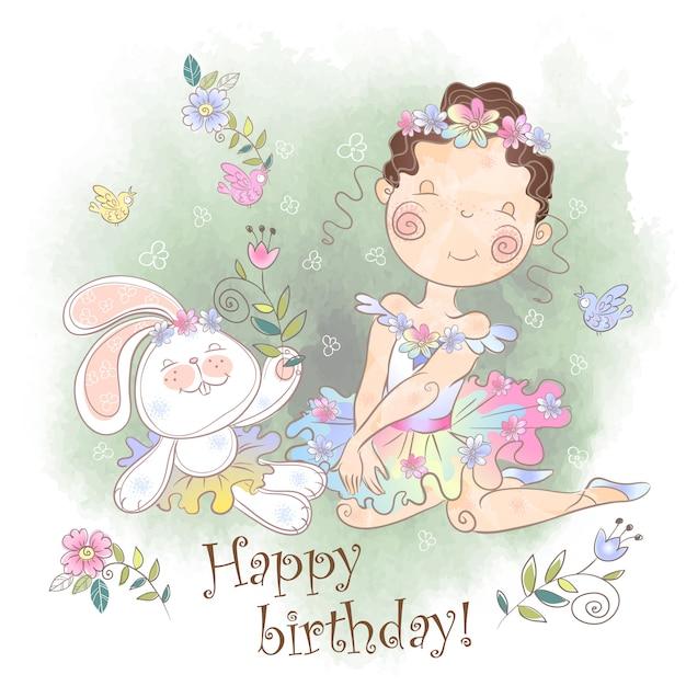 Verjaardagskaart! een klein meisje met een konijn. Premium Vector