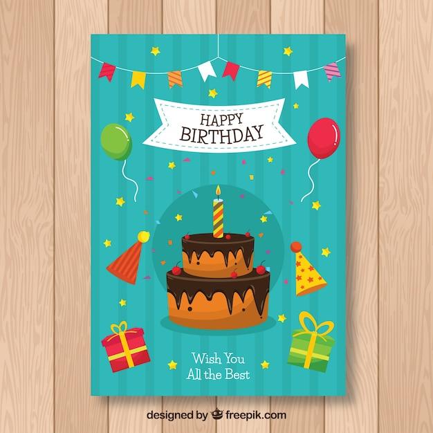 Verjaardagskaart in vlakke stijl Gratis Vector
