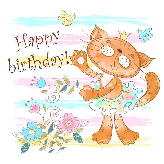 Verjaardagskaart met een schattige kattenballerina. Premium Vector