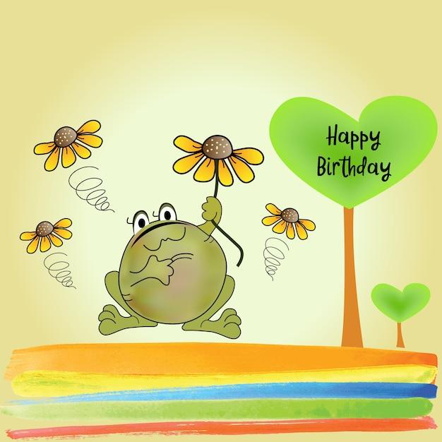 Verjaardagskaart Met Grappige Kikker Vector Gratis Download