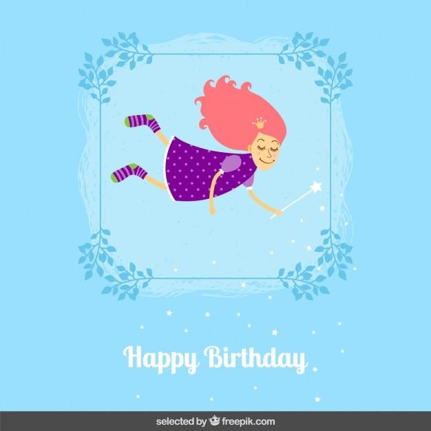 Verjaardagskaart met leuke fee Gratis Vector