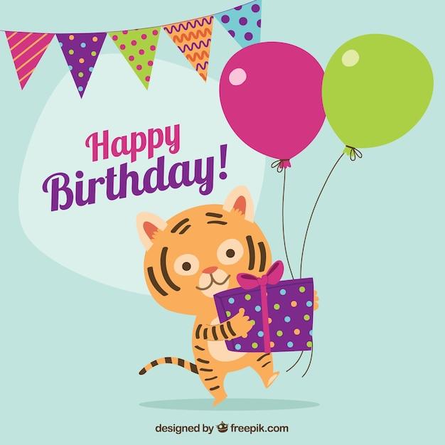 verjaardagskaart met mooie tijger vector gratis download