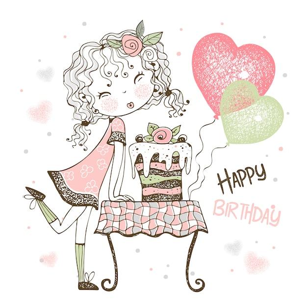 Verjaardagskaart met schattig meisje met cake en ballonnen. Premium Vector