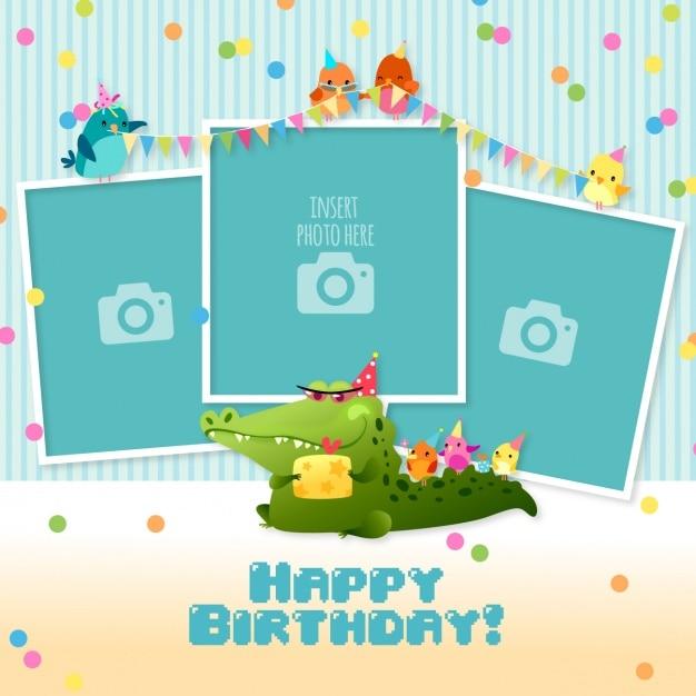 Verjaardagskaart met sjablonen voor foto's Gratis Vector